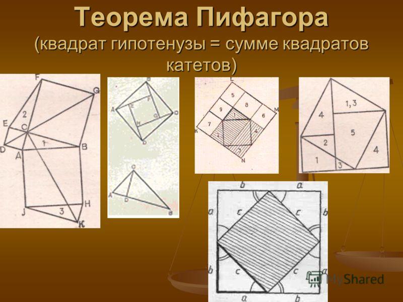 Теорема Пифагора (квадрат гипотенузы = сумме квадратов катетов)