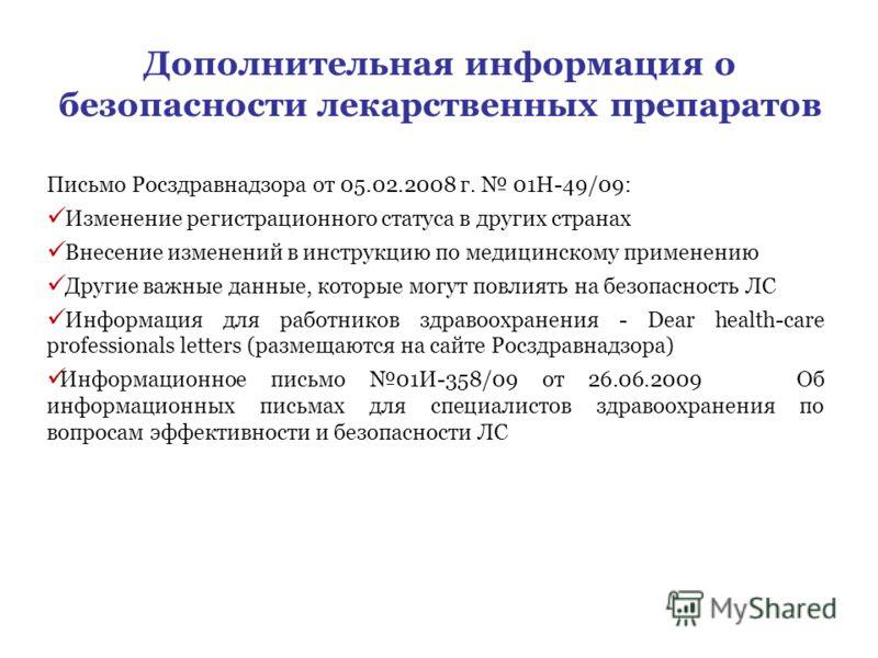 Дополнительная информация о безопасности лекарственных препаратов Письмо Росздравнадзора от 05.02.2008 г. 01Н-49/09: Изменение регистрационного статуса в других странах Внесение изменений в инструкцию по медицинскому применению Другие важные данные,