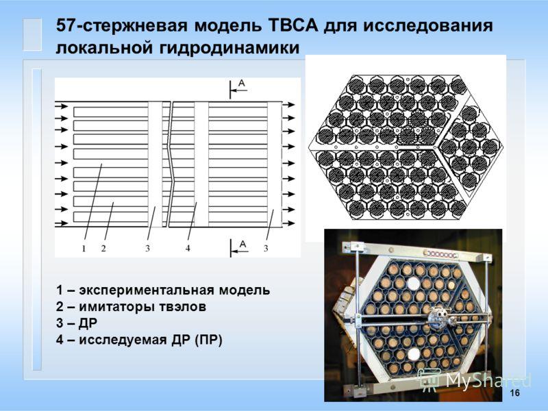 16 57-стержневая модель ТВСА для исследования локальной гидродинамики 1 – экспериментальная модель 2 – имитаторы твэлов 3 – ДР 4 – исследуемая ДР (ПР)