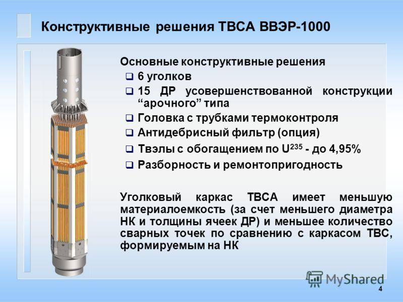 4 Конструктивные решения ТВСА ВВЭР-1000 Основные конструктивные решения 6 уголков 15 ДР усовершенствованной конструкции арочного типа Головка с трубками термоконтроля Антидебрисный фильтр (опция) Твэлы с обогащением по U 235 - до 4,95% Разборность и
