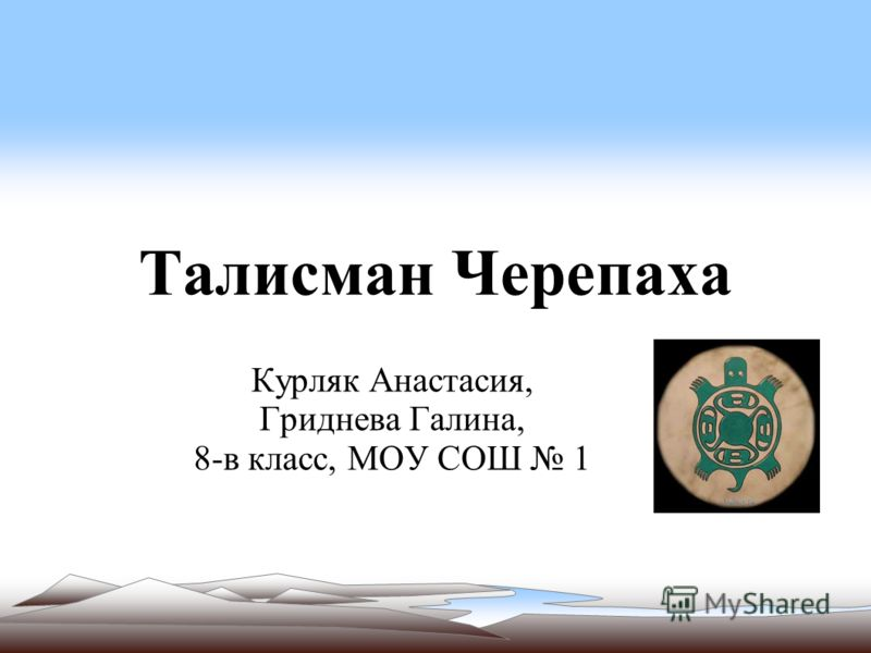 Талисман Черепаха Курляк Анастасия, Гриднева Галина, 8-в класс, МОУ СОШ 1