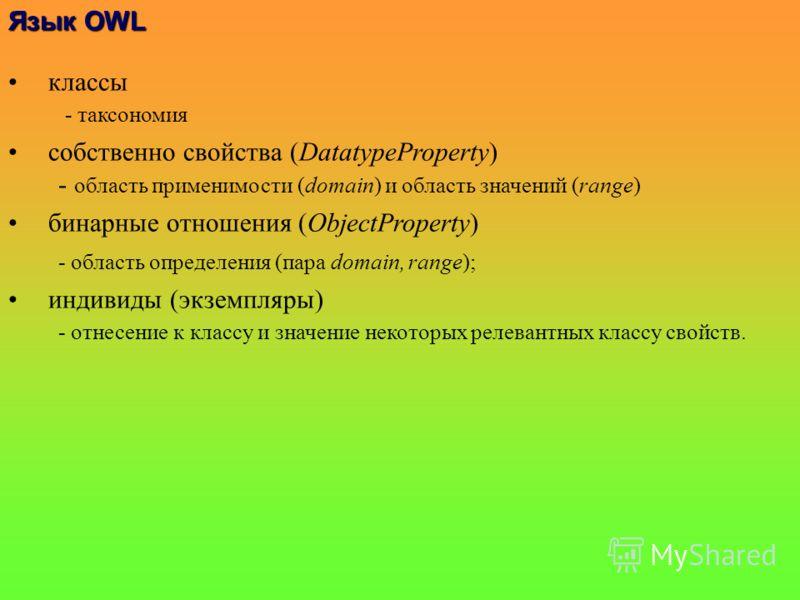 классы - таксономия собственно свойства (DatatypeProperty) - область применимости (domain) и область значений (range) бинарные отношения (ObjectProperty) - область определения (пара domain, range); индивиды (экземпляры) - отнесение к классу и значени