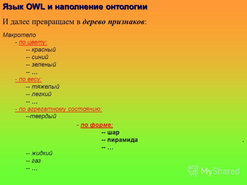 Язык OWLи наполнениеонтологии Язык OWL и наполнение онтологии И далее превращаем в дерево признаков: Макротело - по цвету: -- красный -- синий -- зеленый -- … - по весу: -- тяжелый -- легкий -- … - по агрегатному состоянию: --твердый -- жидкий -- газ