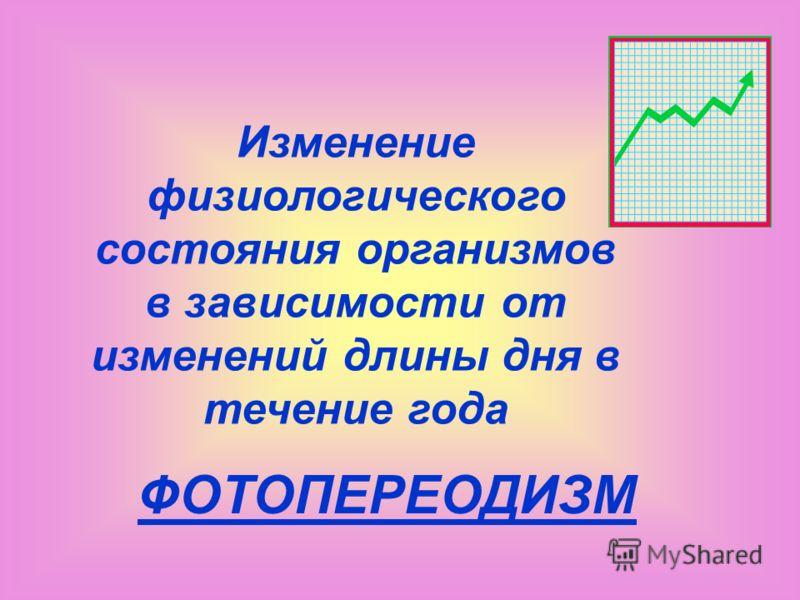Изменение физиологического состояния организмов в зависимости от изменений длины дня в течение года ФОТОПЕРЕОДИЗМ