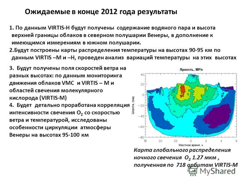 Ожидаемые в конце 2012 года результаты 1. По данным VIRTIS-H будут получены содержание водяного пара и высота верхней границы облаков в северном полушарии Венеры, в дополнение к имеющимся измерениям в южном полушарии. 2.Будут построены карты распреде