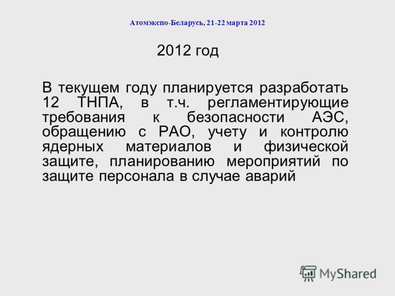Атомэкспо-Беларусь, 21-22 марта 2012 2012 год В текущем году планируется разработать 12 ТНПА, в т.ч. регламентирующие требования к безопасности АЭС, обращению с РАО, учету и контролю ядерных материалов и физической защите, планированию мероприятий по