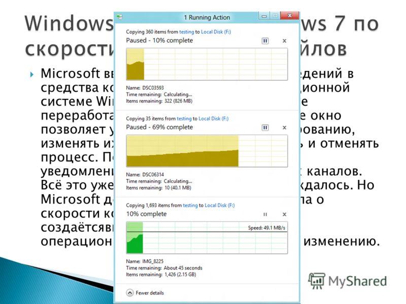 Microsoft ввела массу полезных нововведений в средства копирования файлов в операционной системе Windows 8, в значительной мере переработав эту область. Теперь единое окно позволяет управлять задачами по копированию, изменять их порядок, приостанавли