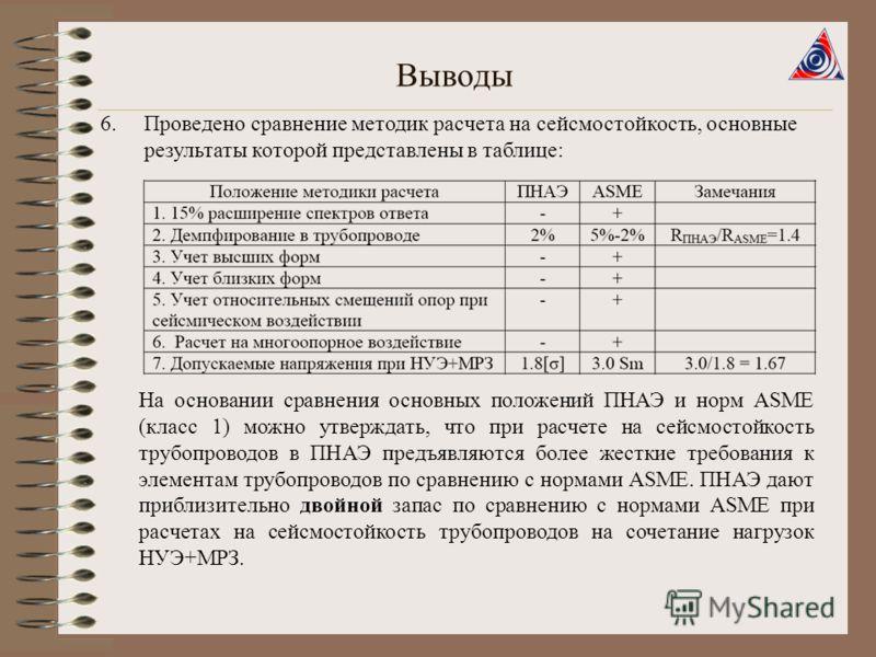 Выводы 6.Проведено сравнение методик расчета на сейсмостойкость, основные результаты которой представлены в таблице: На основании сравнения основных положений ПНАЭ и норм ASME (класс 1) можно утверждать, что при расчете на сейсмостойкость трубопровод