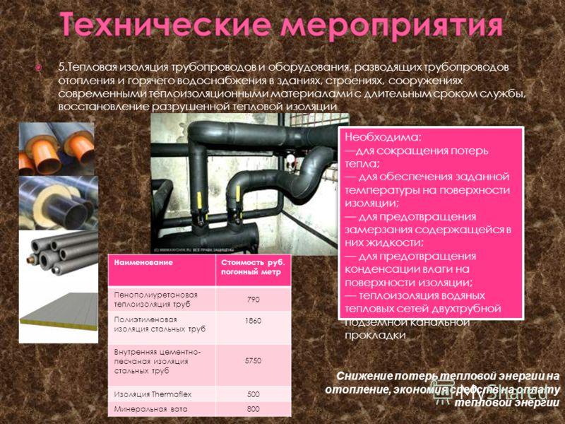 5.Тепловая изоляция трубопроводов и оборудования, разводящих трубопроводов отопления и горячего водоснабжения в зданиях, строениях, сооружениях современными теплоизоляционными материалами с длительным сроком службы, восстановление разрушенной теплово