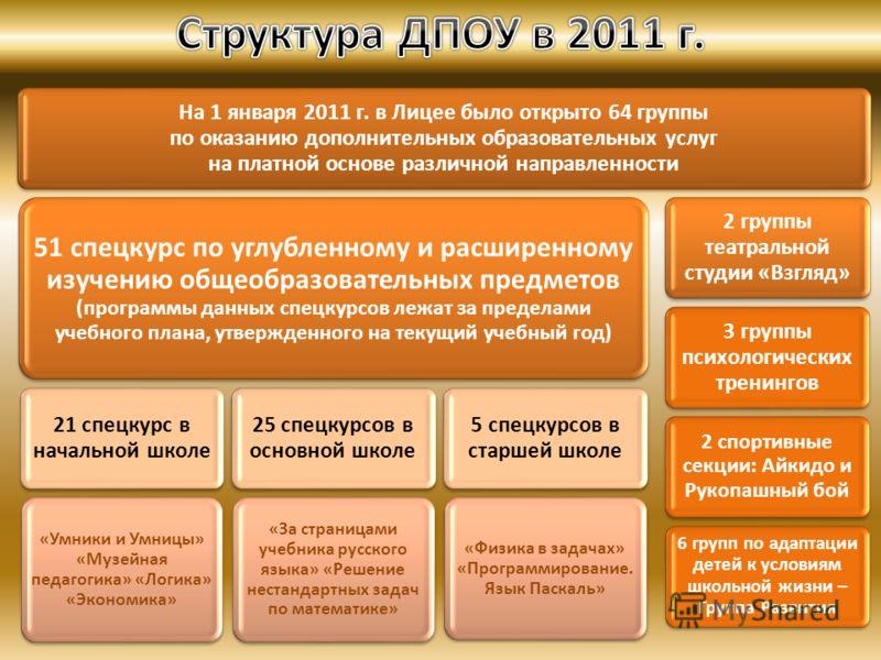 На 1 января 2011 г. в Лицее было открыто 64 группы по оказанию дополнительных образовательных услуг на платной основе различной направленности 51 спецкурс по углубленному и расширенному изучению общеобразовательных предметов (программы данных спецкур