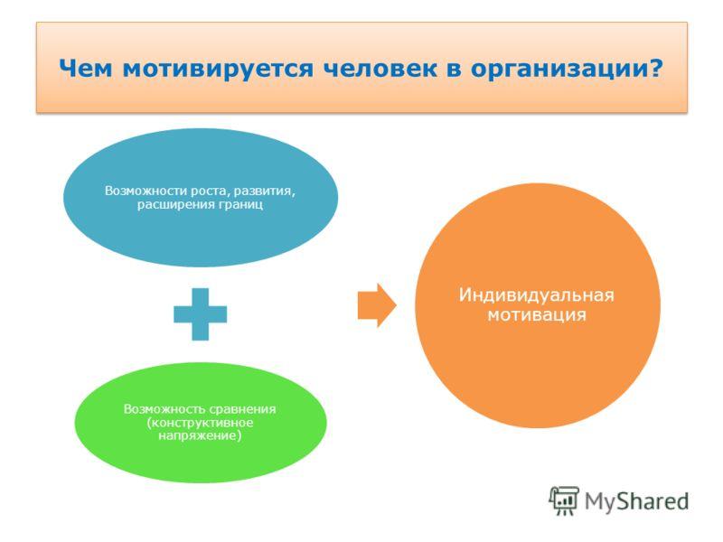 Чем мотивируется человек в организации? Возможности роста, развития, расширения границ Возможность сравнения (конструктивное напряжение) Индивидуальная мотивация
