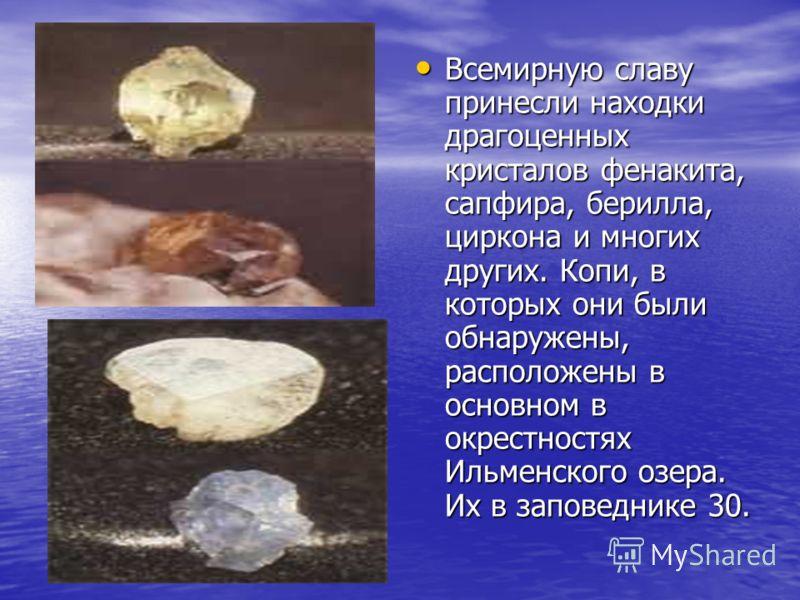 Всемирную славу принесли находки драгоценных кристалов фенакита, сапфира, берилла, циркона и многих других. Копи, в которых они были обнаружены, расположены в основном в окрестностях Ильменского озера. Их в заповеднике 30. Всемирную славу принесли на