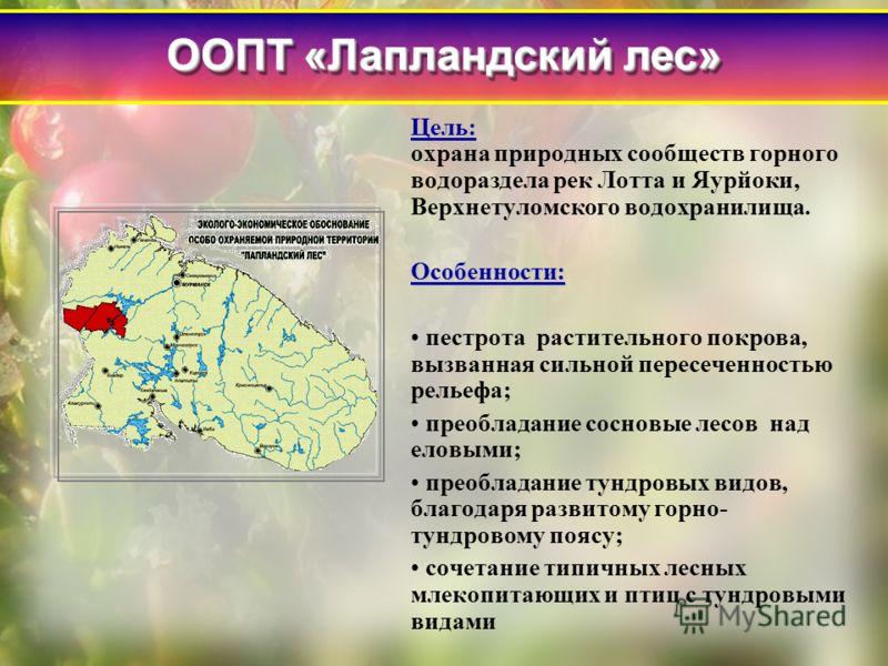 Цель: Цель: охрана природных сообществ горного водораздела рек Лотта и Яурйоки, Верхнетуломского водохранилища.Особенности: пестрота растительного покрова, вызванная сильной пересеченностью рельефа; преобладание сосновые лесов над еловыми; преобладан