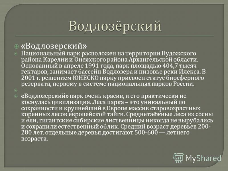 « Водлозерский » Национальный парк расположен на территории Пудожского района Карелии и Онежского района Архангельской области. Основанный в апреле 1991 года, парк площадью 404,7 тысяч гектаров, занимает бассейн Водлозера и низовье реки Илекса. В 200