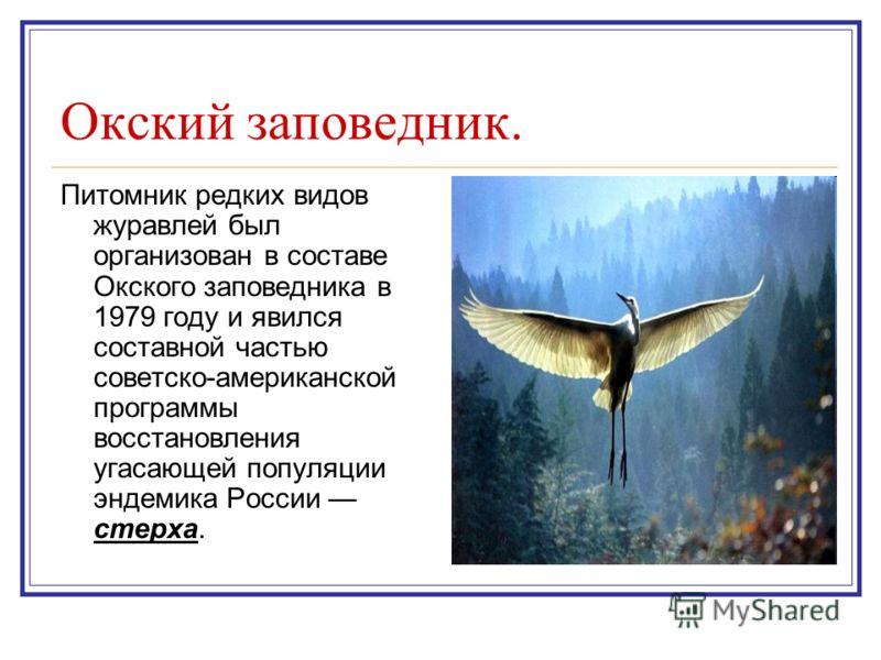 Окский заповедник. Питомник редких видов журавлей был организован в составе Окского заповедника в 1979 году и явился составной частью советско-американской программы восстановления угасающей популяции эндемика России стерха.