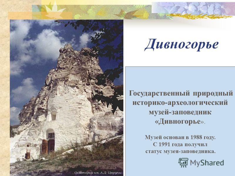 Дивногорье Государственный природный историко-археологический музей-заповедник «Дивногорье ». Музей основан в 1988 году. С 1991 года получил статус музея-заповедника.
