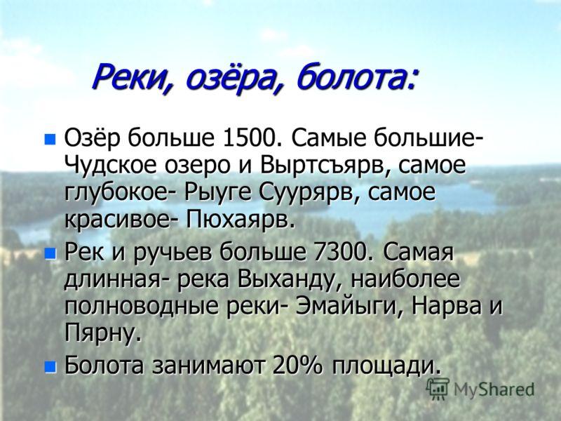 Реки, озёра, болота: n Озёр больше 1500. Самые большие- Чудское озеро и Выртсъярв, самое глубокое- Рыуге Суурярв, самое красивое- Пюхаярв. n Рек и ручьев больше 7300. Самая длинная- река Выханду, наиболее полноводные реки- Эмайыги, Нарва и Пярну. n Б