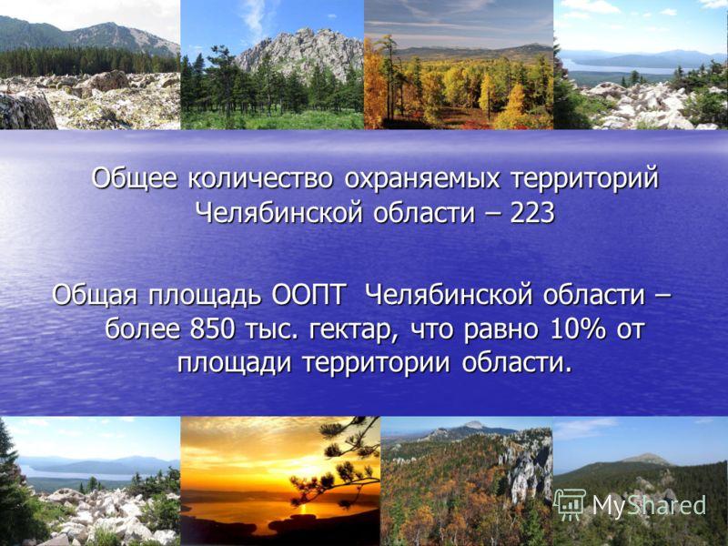 Общее количество охраняемых территорий Челябинской области – 223 Общая площадь ООПТ Челябинской области – более 850 тыс. гектар, что равно 10% от площади территории области.