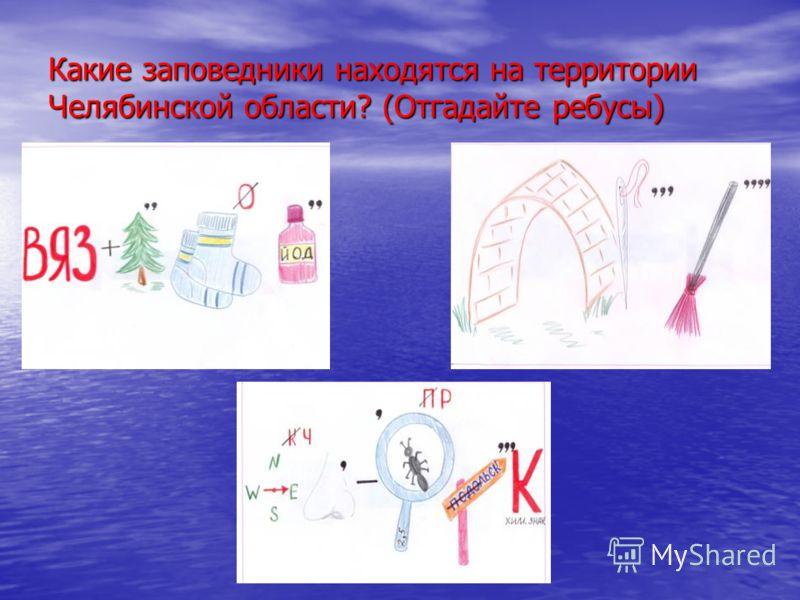 Какие заповедники находятся на территории Челябинской области? (Отгадайте ребусы)