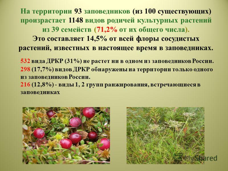 На территории 93 заповедников (из 100 существующих) произрастает 1148 видов родичей культурных растений из 39 семейств (71,2% от их общего числа). Это составляет 14,5% от всей флоры сосудистых растений, известных в настоящее время в заповедниках. 532