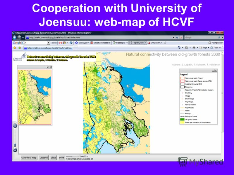 Cooperation with University of Joensuu: web-map of HCVF
