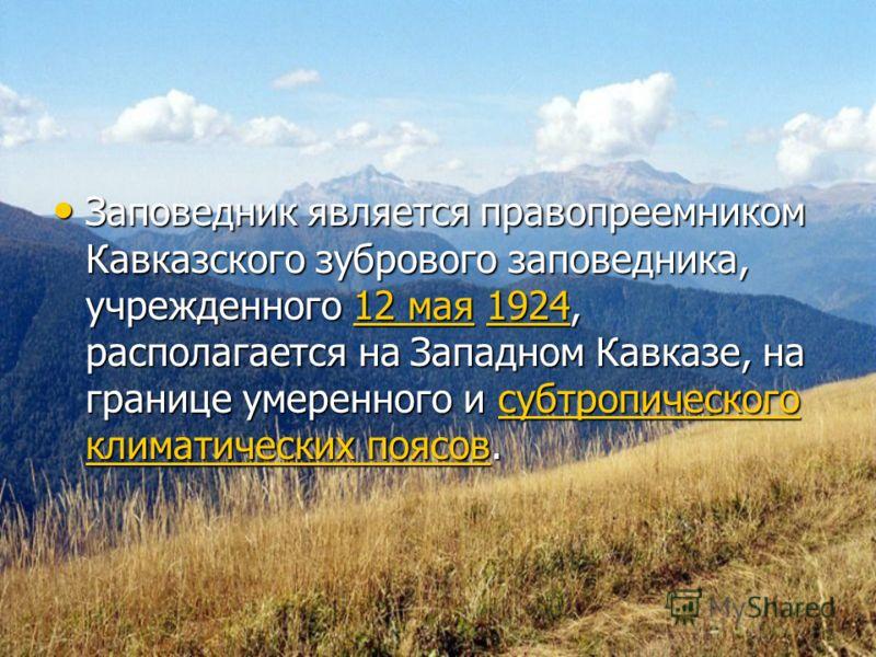 Заповедник является правопреемником Кавказского зубрового заповедника, учрежденного 12 мая 1924, располагается на Западном Кавказе, на границе умеренного и субтропического климатических поясов. Заповедник является правопреемником Кавказского зубровог