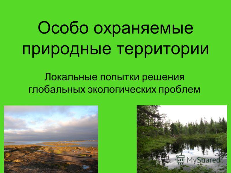 Особо охраняемые природные территории Локальные попытки решения глобальных экологических проблем