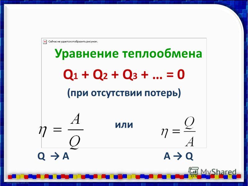 Уравнение теплообмена Q 1 + Q 2 + Q 3 + … = 0 (при отсутствии потерь) или Q AA Q