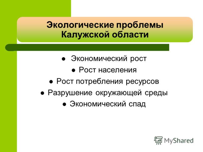 Экологические проблемы Калужской области Экономический рост Рост населения Рост потребления ресурсов Разрушение окружающей среды Экономический спад