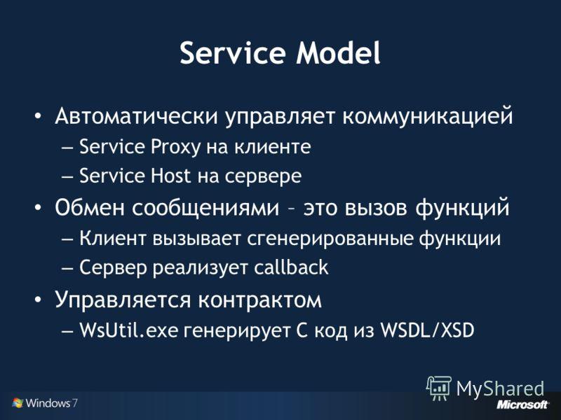Service Model Автоматически управляет коммуникацией – Service Proxy на клиенте – Service Host на сервере Обмен сообщениями – это вызов функций – Клиент вызывает сгенерированные функции – Сервер реализует callback Управляется контрактом – WsUtil.exe г