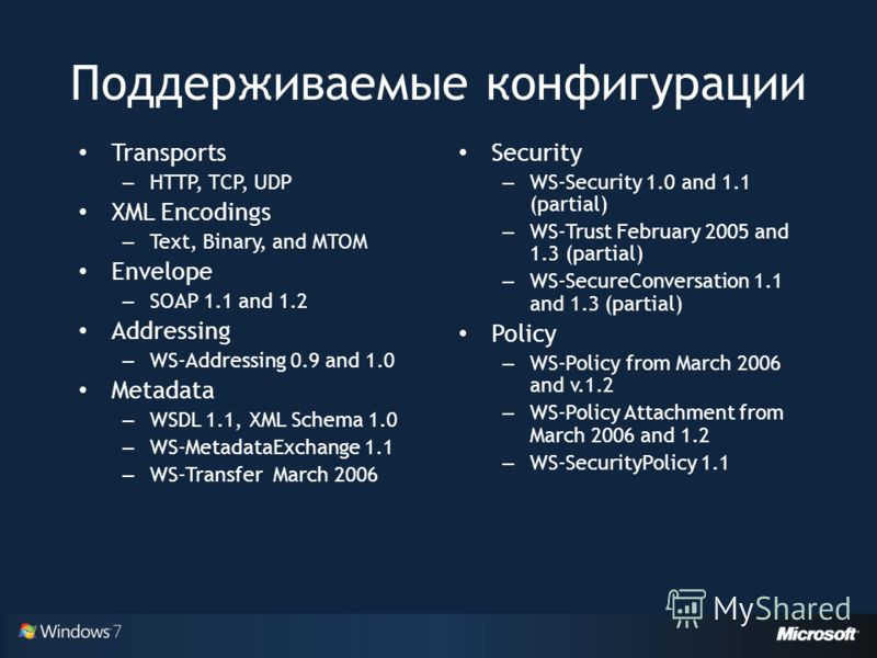Поддерживаемые конфигурации Transports – HTTP, TCP, UDP XML Encodings – Text, Binary, and MTOM Envelope – SOAP 1.1 and 1.2 Addressing – WS-Addressing 0.9 and 1.0 Metadata – WSDL 1.1, XML Schema 1.0 – WS-MetadataExchange 1.1 – WS-Transfer March 2006 S