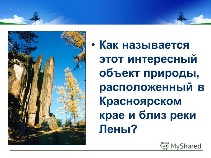 Как называется этот интересный объект природы, расположенный в Красноярском крае и близ реки Лены?