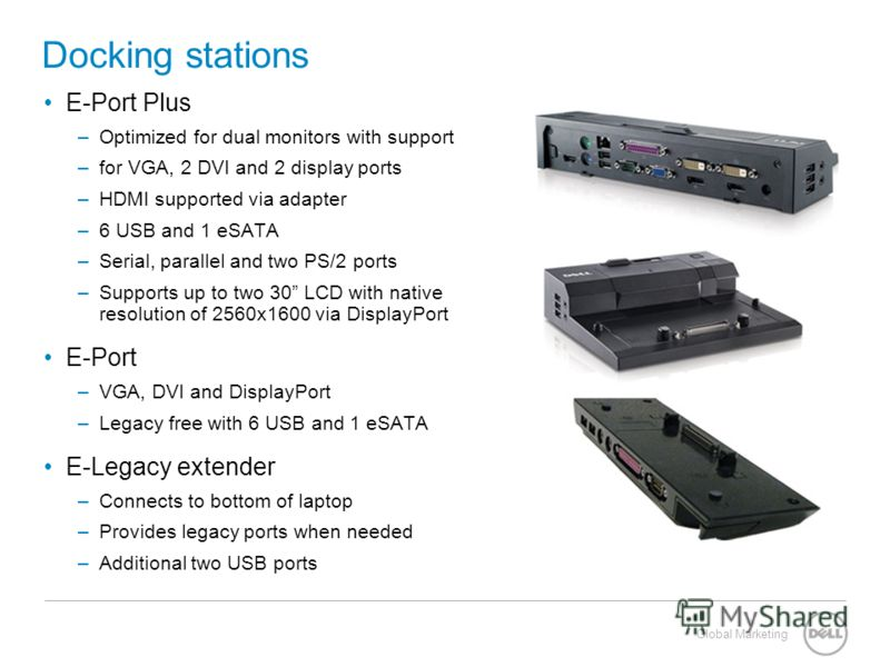 Global Marketing Docking stations E-Port Plus –Optimized for dual monitors with support –for VGA, 2 DVI and 2 display ports –HDMI supported via adapter –6 USB and 1 eSATA –Serial, parallel and two PS/2 ports –Supports up to two 30 LCD with native res