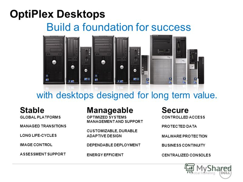 Global Marketing OptiPlex Desktops Build a foundation for success Stable GLOBAL PLATFORMS MANAGED TRANSITIONS LONG LIFE-CYCLES IMAGE CONTROL ASSESSMENT SUPPORT Manageable OPTIMIZED SYSTEMS MANAGEMENT AND SUPPORT CUSTOMIZABLE, DURABLE ADAPTIVE DESIGN