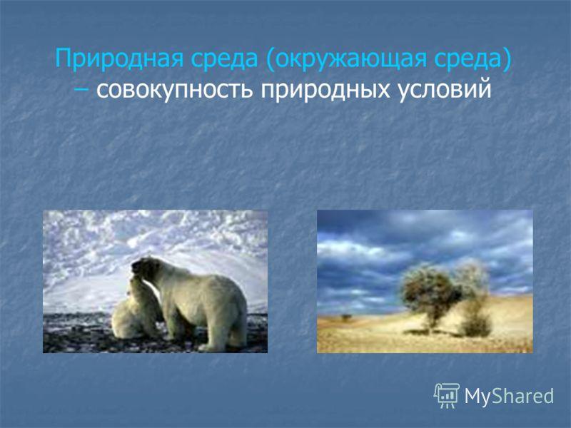Природная среда (окружающая среда) – совокупность природных условий