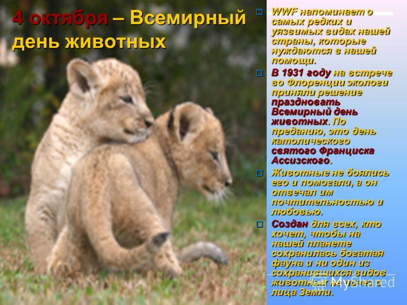 4 октября – Всемирный день животных WWF напоминает о самых редких и уязвимых видах нашей страны, которые нуждаются в нашей помощи. WWF напоминает о самых редких и уязвимых видах нашей страны, которые нуждаются в нашей помощи. В 1931 году на встрече в