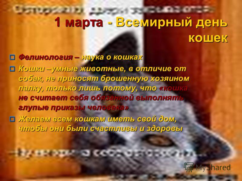 1 марта - Всемирный день кошек Фелинология – наука о кошках Фелинология – наука о кошках Кошки –умные животные, в отличие от собак, не приносят брошенную хозяином палку, только лишь потому, что «кошка не считает себя обязанной выполнять глупые приказ