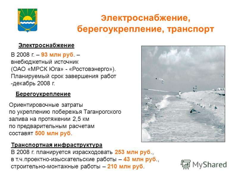 Э лектроснабжение, берегоукрепление, транспорт Электроснабжение В 2008 г. – 93 млн руб. – внебюджетный источник (ОАО «МРСК Юга» - «Ростовэнерго»). Планируемый срок завершения работ -декабрь 2008 г. Берегоукрепление Ориентировочные затраты по укреплен