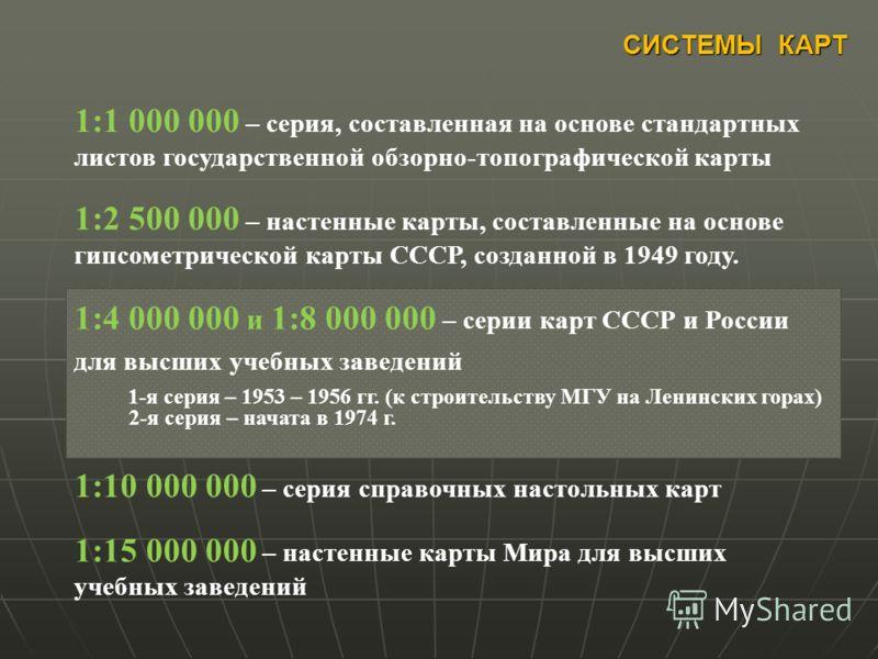 СИСТЕМЫ КАРТ 1:1 000 000 – серия, составленная на основе стандартных листов государственной обзорно-топографической карты 1:2 500 000 – настенные карты, составленные на основе гипсометрической карты СССР, созданной в 1949 году. 1:4 000 000 и 1:8 000
