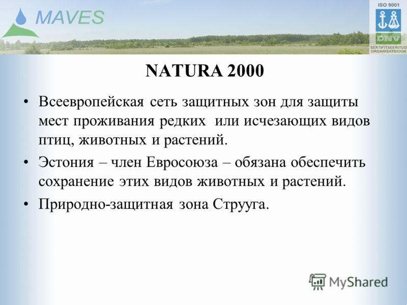 NATURA 2000 Всеевропейская сеть защитных зон для защиты мест проживания редких или исчезающих видов птиц, животных и растений. Эстония – член Евросоюза – обязана обеспечить сохранение этих видов животных и растений. Природно-защитная зона Струуга.
