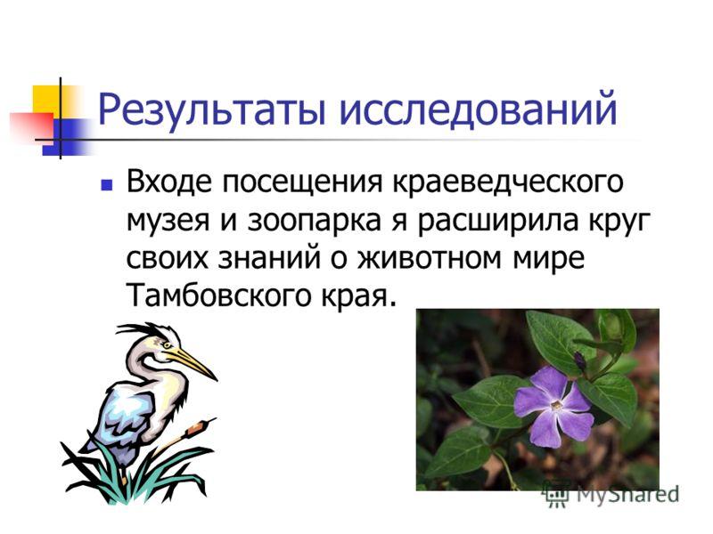 Входе посещения краеведческого музея и зоопарка я расширила круг своих знаний о животном мире Тамбовского края.