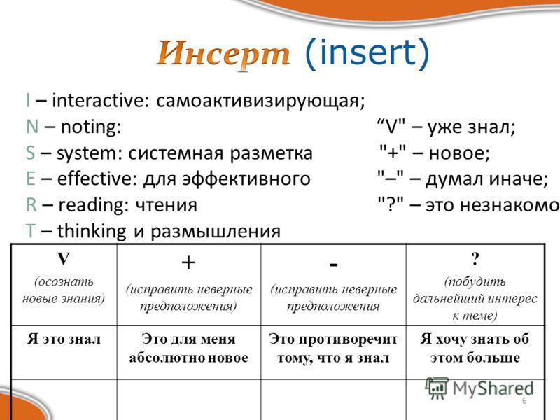 6 I – interactive: самоактивизирующая; N – noting: V