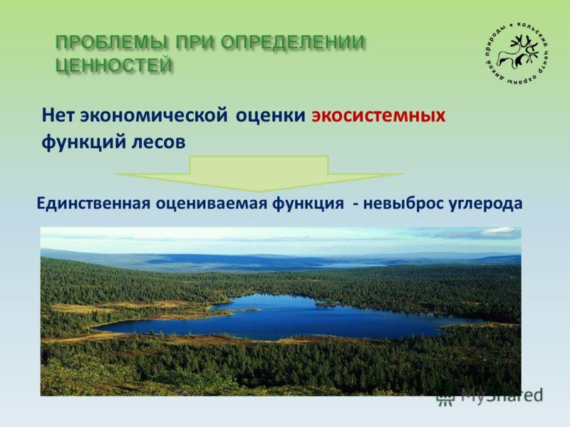 Нет экономической оценки экосистемных функций лесов Единственная оцениваемая функция - невыброс углерода