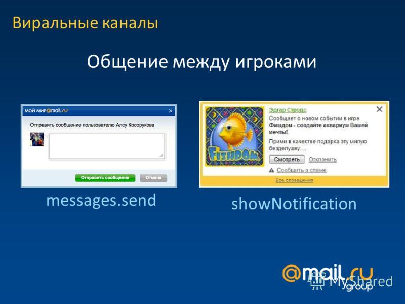 Виральные каналы Общение между игроками messages.send showNotification