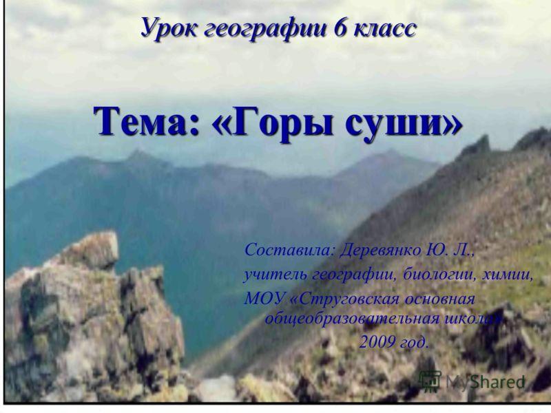 Тема горы география 6 класс