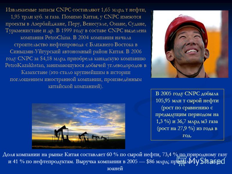 Извлекаемые запасы CNPC составляют 1,65 млрд т нефти, 1,95 трлн куб. м газа. Помимо Китая, у CNPC имеются проекты в Азербайджане, Перу, Венесуэле, Омане, Судане, Туркменистане и др. В 1999 году в составе CNPC выделена компания PetroChina. В 2004 комп