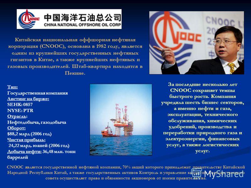 Китайская национальная оффшорная нефтяная корпорация (CNOOC), основана в 1982 году, является одним из крупнейших государственных нефтяных гигантов в Китае, а также крупнейших нефтяных и газовых производителей. Штаб-квартира находится в Пекине. Тип: Г