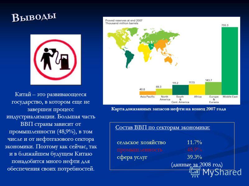 Состав ВВП по секторам экономики: сельское хозяйство11.7% промышленность48.9% сфера услуг 39.3% (данные за 2008 год) Карта доказанных запасов нефти на конец 2007 года Китай – это развивающееся государство, в котором еще не завершен процесс индустриал