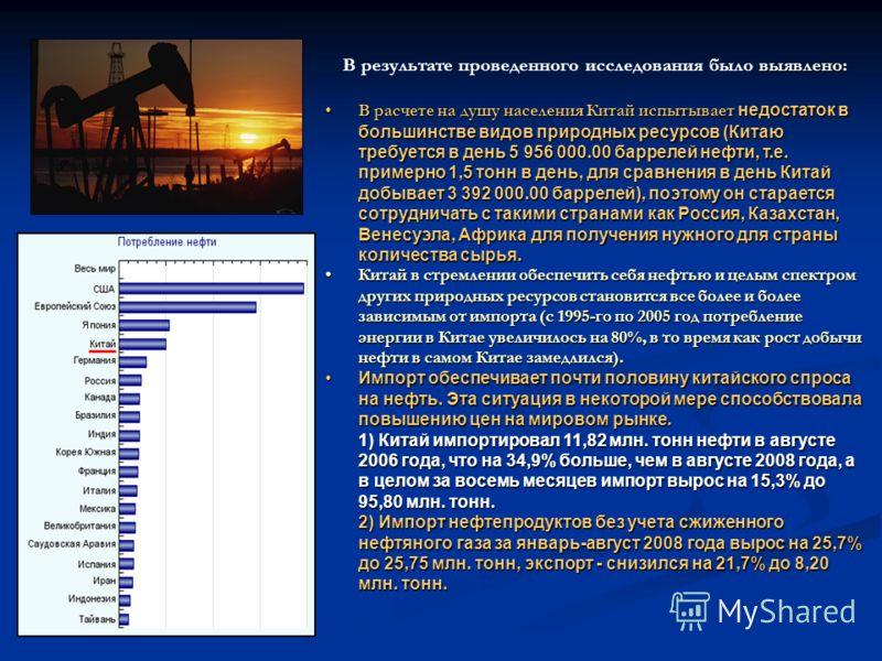 выявлено: В результате проведенного исследования было выявлено: В расчете на душу населения Китай испытывает недостаток в большинстве видов природных ресурсов (Китаю требуется в день 5 956 000.00 баррелей нефти, т.е. примерно 1,5 тонн в день, для сра