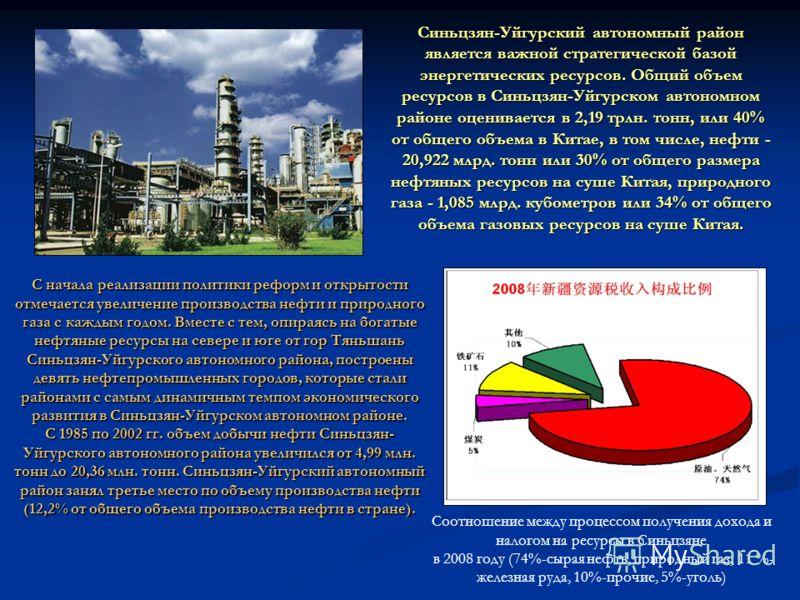 Синьцзян-Уйгурский автономный район является важной стратегической базой энергетических ресурсов. Общий объем ресурсов в Синьцзян-Уйгурском автономном районе оценивается в 2,19 трлн. тонн, или 40% от общего объема в Китае, в том числе, нефти - 20,922